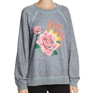 Wildfox Gray Rose Blaze Sweatshirt